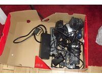 BOX OF VARIOUS LEADS, ADAPTERS, CHARGERS NOT SURE WHAT THEY ARE OFF
