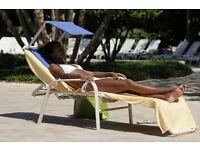 CUSH 'N' SHADE Beach Sun shade and cushion - Blue or Green (sunbed not included)