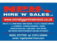 micro digger and mini digger hire 1 ton up to 3 ton also dumper skip loader hire call 07973220809