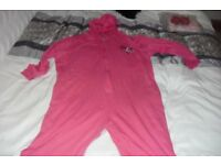 "SIZE 18/20 ""LIPSY"" PINK HOODED ONESIE + BRAND NEW EYE MASK"