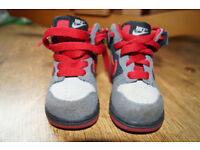 Boys Baby Toddler Nike Shoes Red Grey UK 5 Leather Finish