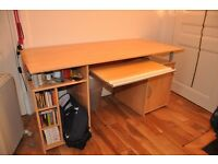 Computer desk, wood, lots of storage, big size