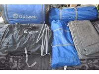 Outwell Montana 6 Birth Tent & Front Awning, with carpet and Footprint.