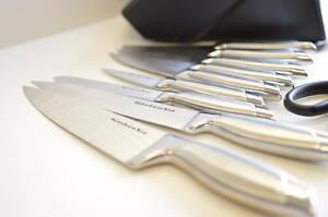 The KitchenAid 9-Piece Pro Knife Cutlery Set comes with 7 different knives