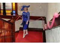 Irresistible Royal Blue Mother of the Bride Dress, Hat, Shoes and Bag, Worn Once, Perfect Condition