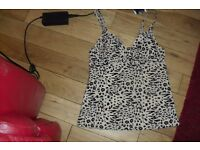 NEW WITH TAGS ON SIZE 32C LEOPARD PRINT TANKINI TOP COST £10