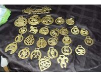 SELECTION OF HORSES BRASS 3 LARGE PLAQUES + 23 SMALLER ONES + A HANGING PLAQUE