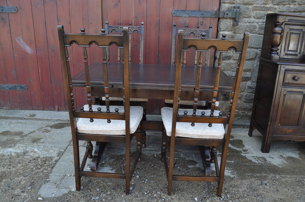 Vintage Retro Ercol Blue Label Refectory Extending Dining Table And Four Yorkshire Chairs
