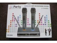 Party UHF 2 channel wireless twin microphone system