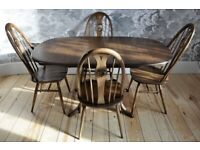 Vintage Retro Ercol Chester Extending Dining Table and 4 Swan Back Chairs