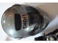 SHOEI CRASH HELMET -Syncrotec Model, Small size 55cms - limited use. silver grey flip front = £75