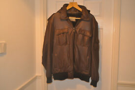 LEATHER BOMBER JACKET, WITH DETACHABLE LEATHER HOOD, FUR LINING, NEW