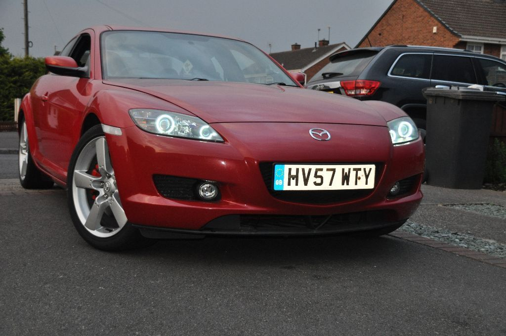 mazda rx8 rx 8 late 2007 xenon headlight with halo rings in long