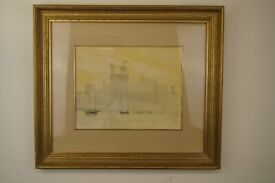 Stunning Original signed water colour of a Welsh castle painted on a misty dawn