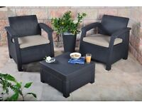 Corfu 2 Seater Balcony Garden Outdoor Rattan Furniture Set!!