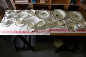 Wood & Sons Clovelly vintage china from the 1960's. Part Dinner with tea and coffee sets. 43 pieces