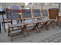 set of 4 teak garden chairs