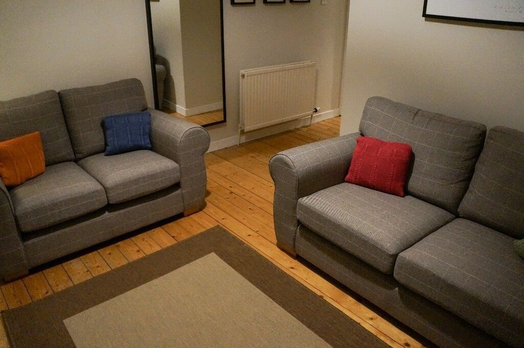 Two Next Mille Sofas Medium And Small In Tweedy Check Lawson