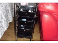 STAINLESS STEEL STAND WITH 4 BLACK DRAWERS USED FOR HAIRDRESSING/BEAUTY SALON WORK