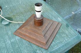 Oak retro table lamp, square shaped base.