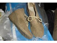 PAIR BEIGE WEDGE LACE UP SHOE BOOTS