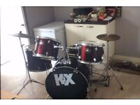 Kix Full red drum kit - good condition - not use in last 2 years - small wear and tear on skins