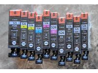 Canon inkjet cartridges 526, new wrapped, 2yellow, 2 magenta, 2 grey, 1 cyan, 2 black, 1 525 black