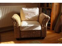 Natural Rattan two seaters sofa, coffee table and two arm chairs