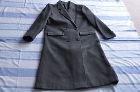 Womens charcoal grey cashmere and wool full length coat size 12 Debenhams as new