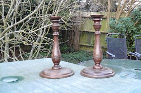 Candlesticks, pair of retro oak candlesticks with detachable copper candle holders