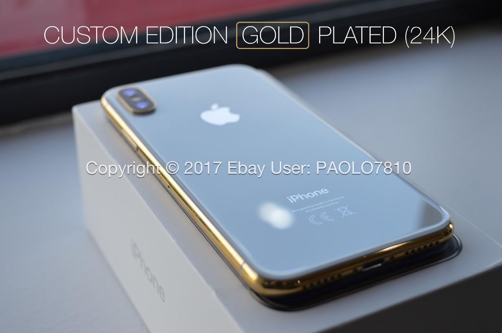 Apple iPhone X (10) - 256GB - Silver (Unlocked) 24k GOLD PLATED CUSTOM EDITION*