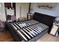 leather kingsize sleigh bed with drawers