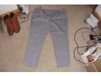 SIZE 18 PAIR BLUE/WHITE PRINT TROUSERS