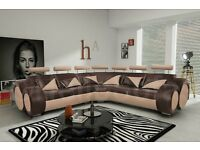 Stunning Brand New large leather corner sofa.brown and beige,in the boxes.delivery available