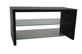 BRAND NEW & BOXED MADISON BLACK ASH EFFECT TV STAND WITH 2 GLASS SHELVES UNIT MEDIA CABINET WOODEN