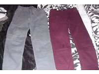 AGE 12-13 YEARS PACK OF 2 BOYS TROUSERS IN BURGUNDY + GREY WITH CUFFS AT THE BOTTOM