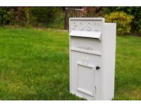 Ivory Wooden Postbox with lock- wedding, parties etc