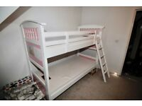 Solid Wood Bunk Bed for Sale + 2 Foam Mattresses - Excellent Condition
