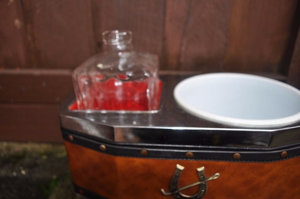 vintage musical decanter and ice bucket set
