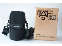 Nikon 80-400mm, f4.5-5.6 D VR Telephoto zoom (boxed) with lens bag & strap, hood & collar