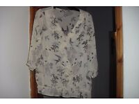 "NEW ""NEXT"" SIZE 20 CREAM BIRDS + FLOWER PRINT ON SHEER MATERIAL TOP"