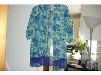 NEW IN BAG SIZE 12/14 AQUA PRINT KIMONO GREAT FOR THE SUMMER HOLIDAYS