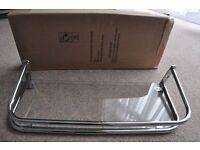 New over cistern bathrom chrome and glass shelf boxed bathroom shelf