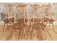 Set of 6 Vintage Retro 60's Ercol Windsor Goldsmith Chairs model 369 369A