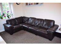 Dark brown leather corner sofa 5 seats