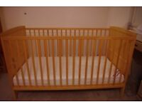 Somerset Cot Bed Natural and Unbound Pocket Spring Interior Cot Bed Mattress - very good condition