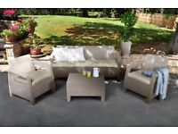 Keter Corfu Outdoor 4Seater Rattan Sofa Furniture Set with Accent Table -Graphite with Cream Cushion