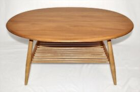 Vintage Retro 60's Ercol Windsor Oval Coffee Table with Magazine Rack - As New - Fully Renovated