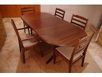 Solid wood table and five chairs