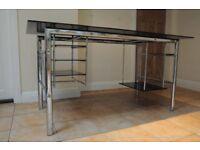 Glass and aluminium desk - 150cm long, 70cm depth, 75cm height